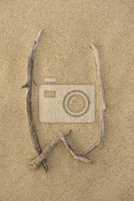 Carta del alfabeto W hecha de trozos de madera sobre la arena