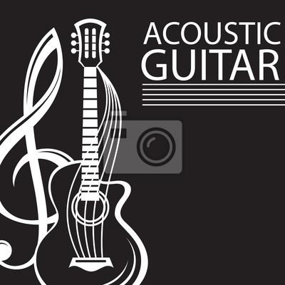 Cuadro Cartel Con Clave De Sol Y Guitarra Sobre Fondo Negro