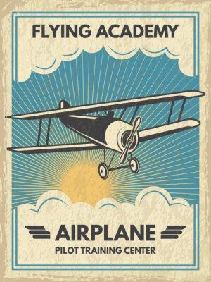 Cuadro Cartel de aircaft Vintage. Ilustración vectorial
