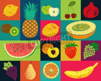Cuadro Cartel de la fruta del estilo del grunge del arte pop. Colección de frutas retro. Vintage conjunto de vectores de frutas.
