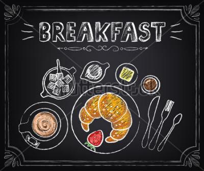 Cuadro Cartel de la vendimia. Desayuno Croissant y café. Ubicado en la pizarra para diseño en estilo retro.