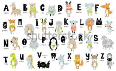 Cuadro Cartel de vector con letras del alfabeto con animales de dibujos animados para niños en estilo escandinavo. Fuente de zoológico gráfico dibujado a mano. Perfecto para tarjeta, etiqueta, folleto, volan