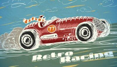 Cuadro Cartel del coche de carreras retro