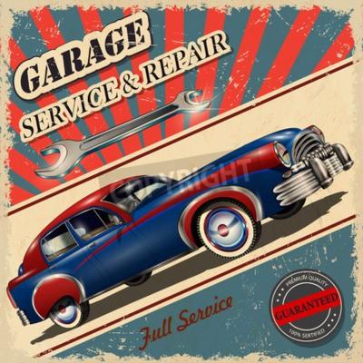 Cuadro Cartel retro de garaje vintage