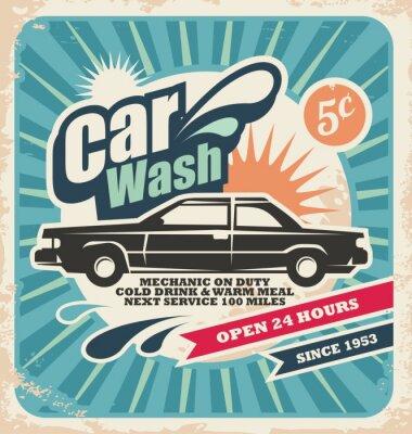 Cuadro Cartel retro lavado de coches