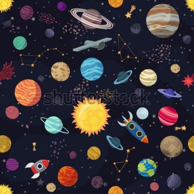 Cuadro Cartón espacio transparente con planetas y naves espaciales. Ilustración vectorial