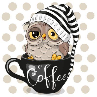 Cuadro Cartoon owl is sitting in a Cup of coffee