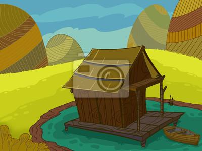 Casa De Madera En Una Ilustracion Lago Trama Dibujada En Estilo