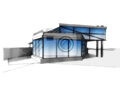 Casa Moderna Con Acristalamiento Estructural Dibujo Dibujo A