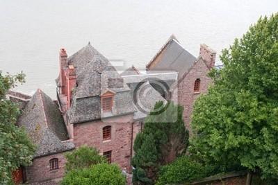 casas en la abadía de Mont Saint-Michel. Francia