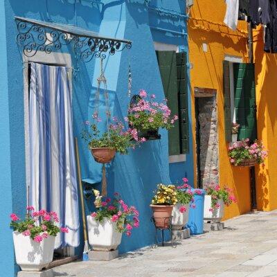 Cuadro casas pintadas vivos en el pueblo de Burano, Venecia