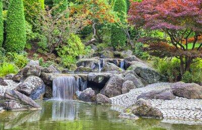 Cuadro Cascada de la cascada en el jardín japonés en Bonn