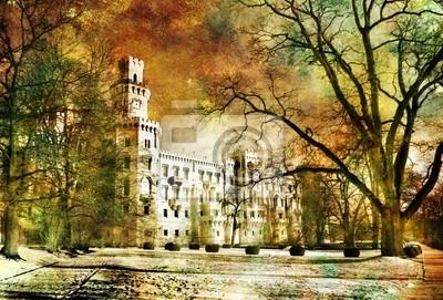 castillo blanco - ilustraciones en estilo de pintura