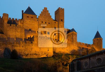 Castillo de Carcasona en la puesta de sol