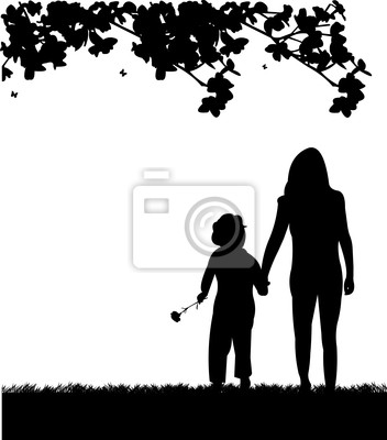 Celebración Del Día De La Madre Entre Madre E Hija Silueta Pinturas
