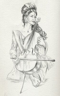 Cuadro Cello player. Freehand sketch. Full sized, orignal.