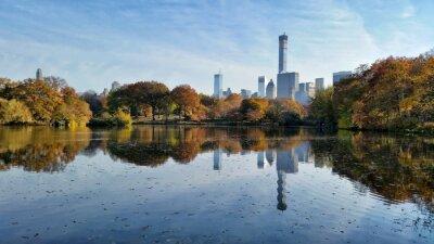 Cuadro Central Park otoño paisaje reflexión en la ciudad de Nueva York