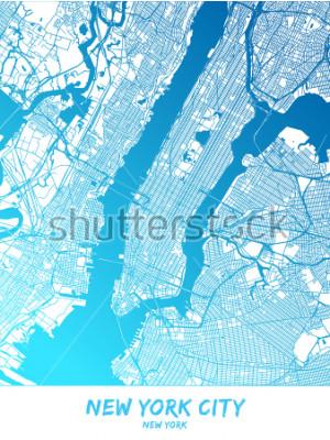 Cuadro Centro de la ciudad de Nueva York y alrededores. Mapa en versión sombreada en azul con muchos detalles. Este mapa de la ciudad de Nueva York contiene puntos de referencia típicos con espacio para info