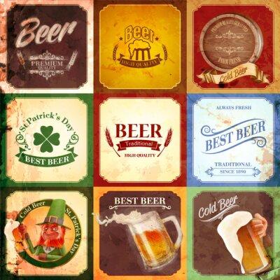 Cuadro cerveza bandera de la vendimia