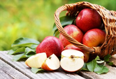 Cuadro Cesta con manzanas frescas