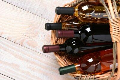 Cuadro Cesta de botellas de vino