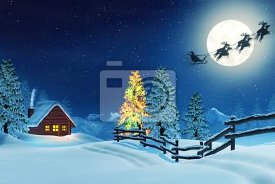 Chalet, el árbol de Navidad y Santa en paisaje del invierno en la noche