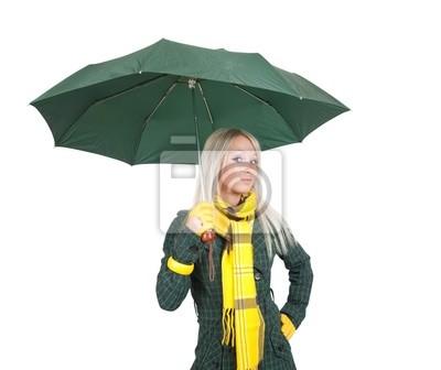 chica con paraguas sobre blanco