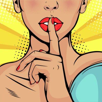 Cuadro Chica de alto secreto en silencio. Hermosa mujer se llevó un dedo a los labios, pidiendo silencio. Fondo colorido del vector en estilo cómico retro del arte pop.