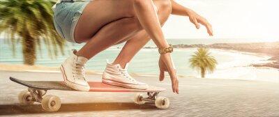 Cuadro Chica de crucero con su longboard