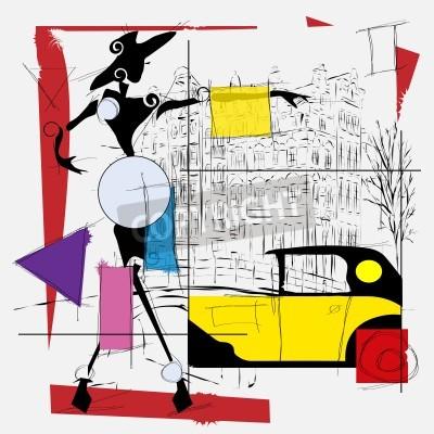 Cuadro chica de moda cubismo ilustración moderna