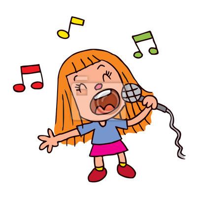 Cuadro: Chica joven que canta en el micrófono