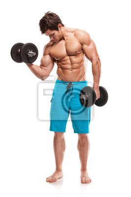 chico culturista muscular que hace ejercicios con pesas sobre