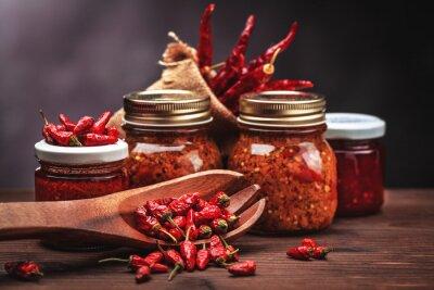 Cuadro chili salsa en vidrio