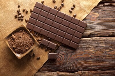 Cuadro Chocolate negro, cacao y granos de café