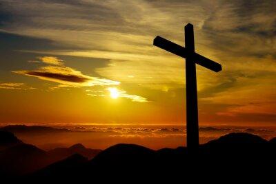 Cuadro Christian cross on sunset background