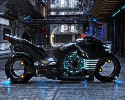 Cuadro Ciclo de luz futurista en la pantalla. La motocicleta se muestra con una representación urbana futurista background.3d