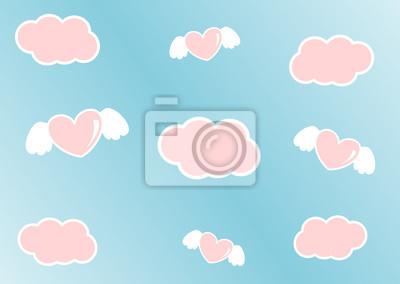 Cielo De Dibujos Animados Con Nubes Rosas Y Corazones Con Alas