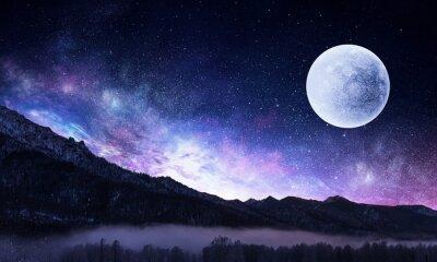 Cuadro Cielo estrellado y luna. Medios mixtos