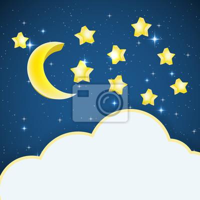 Cielo Nocturno Con Estrellas De Dibujos Animados Y La Luna Y