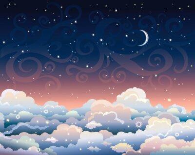 Cuadro Cielo nocturno con las nubes y la luna.