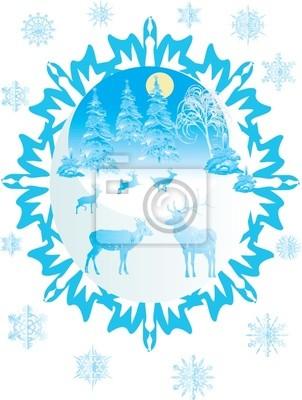 ciervos azules, abetos y copos de nieve