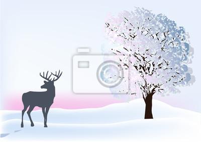 ciervos blanco cerca del árbol de invierno
