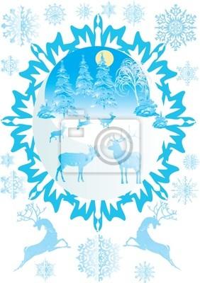 Ciervos de Navidad, abetos y copos de nieve