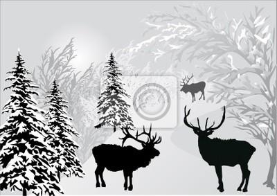 ciervos en el paisaje de bosque de invierno
