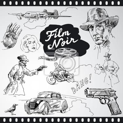 cine negro - colección de dibujado a mano
