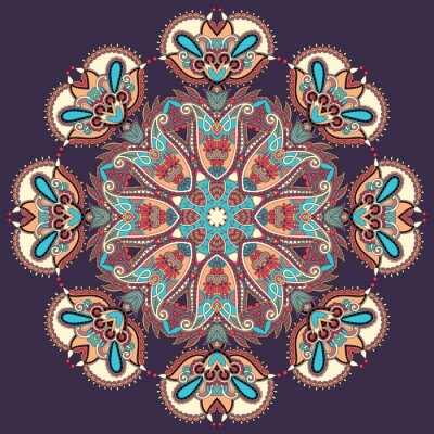 Cuadro Círculo de encaje ornamento, patrón geométrico pañito ornamental redondo