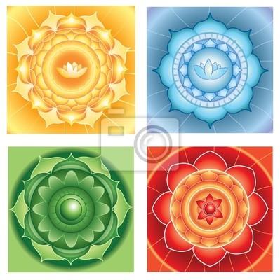 Circulo Fondos Abstractos Brillantes Mandalas De Diferente Chakra - Pinturas-de-mandalas