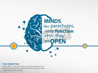 Cuadro Cita de motivación inspiradora en el fondo del cerebro
