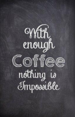 Cuadro Cita del café escrita con tiza en un tablero negro