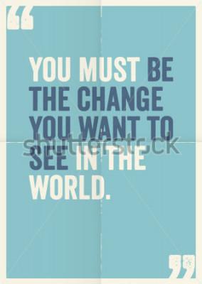 Cuadro Citas inspiradoras de motivación de Mahatma Gandhi, en el fondo del cartel.